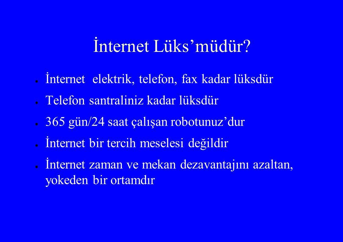 İnternet Lüks'müdür İnternet elektrik, telefon, fax kadar lüksdür