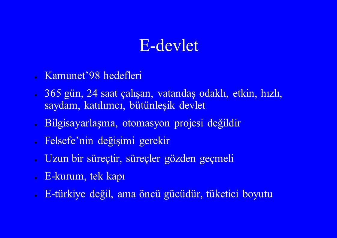 E-devlet Kamunet'98 hedefleri