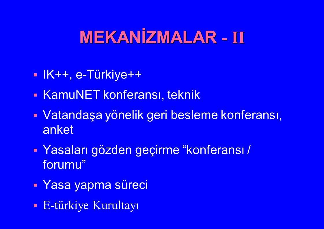 MEKANİZMALAR - II IK++, e-Türkiye++ KamuNET konferansı, teknik