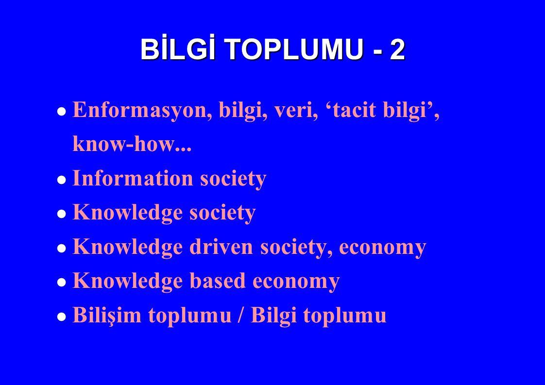 BİLGİ TOPLUMU - 2 Enformasyon, bilgi, veri, 'tacit bilgi', know-how...