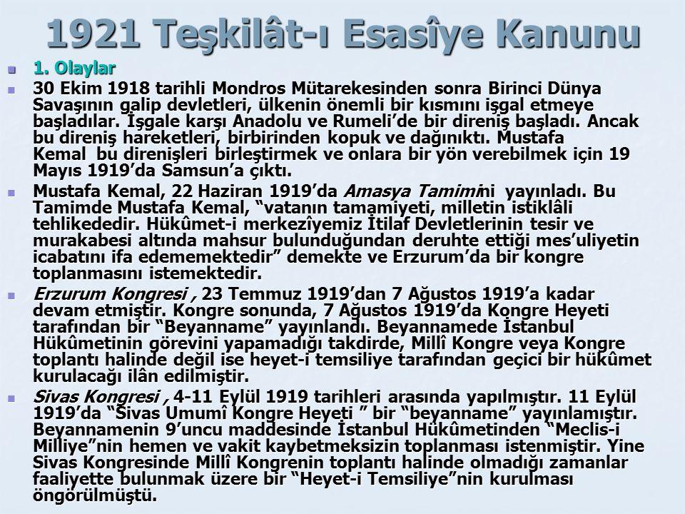 1921 Teşkilât-ı Esasîye Kanunu