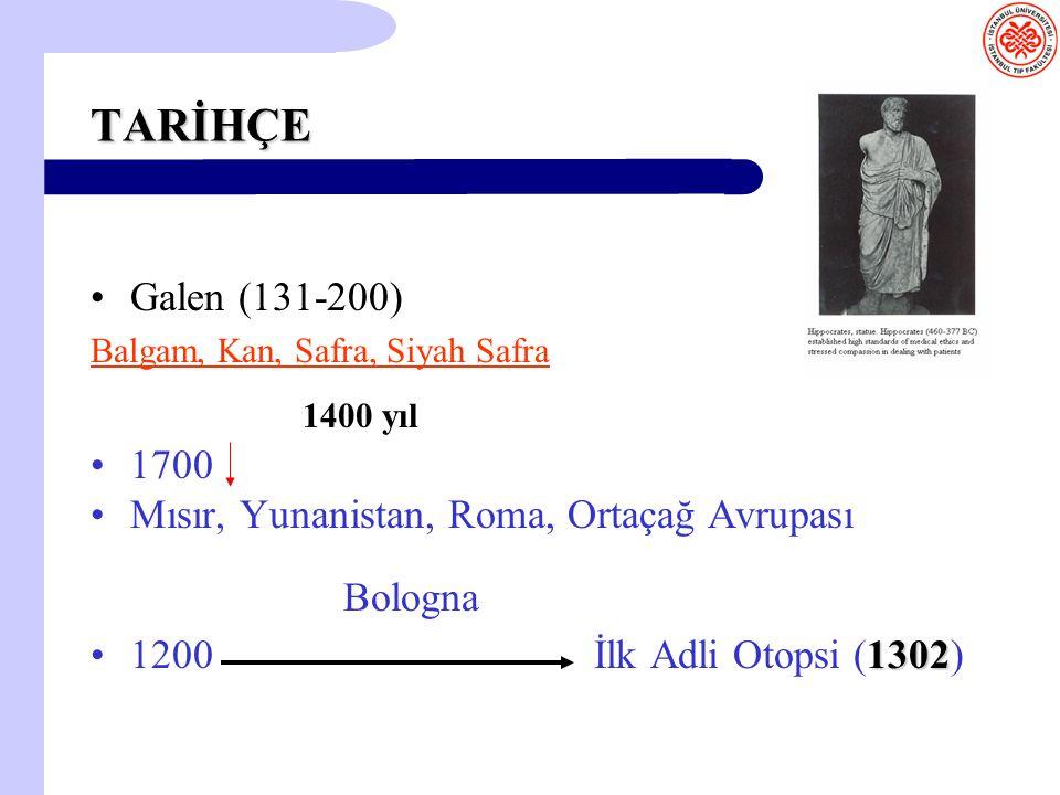 TARİHÇE Galen (131-200) Balgam, Kan, Safra, Siyah Safra. 1400 yıl. 1700. Mısır, Yunanistan, Roma, Ortaçağ Avrupası.