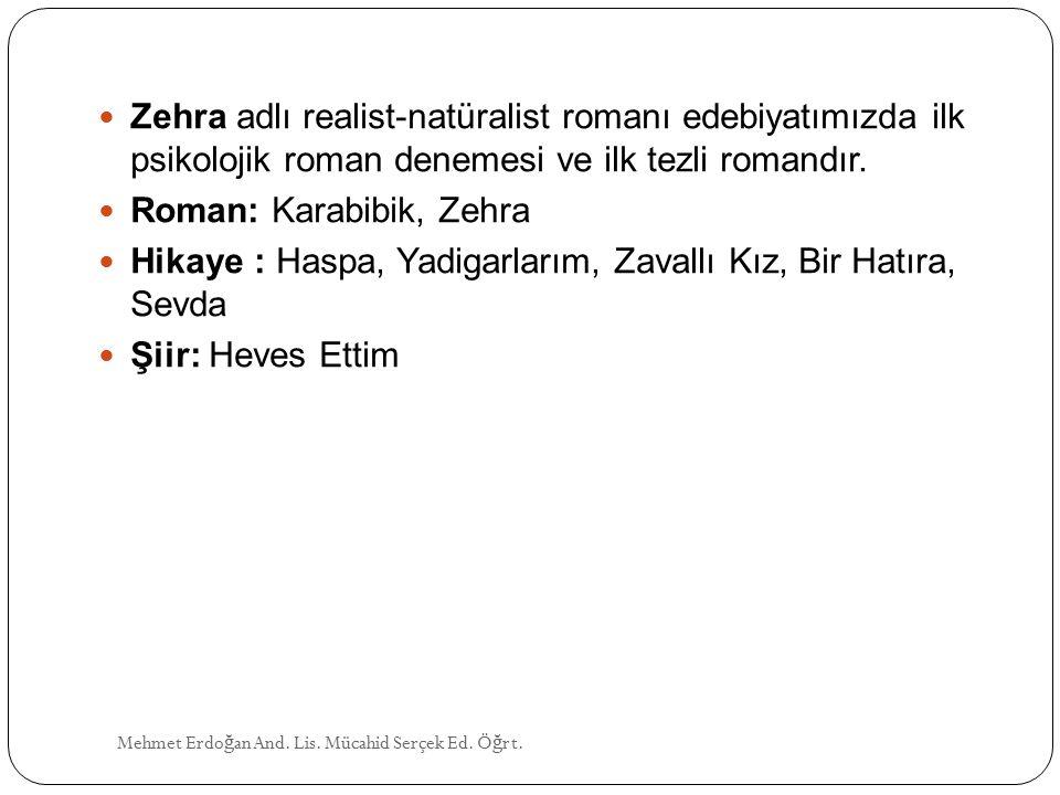 Roman: Karabibik, Zehra