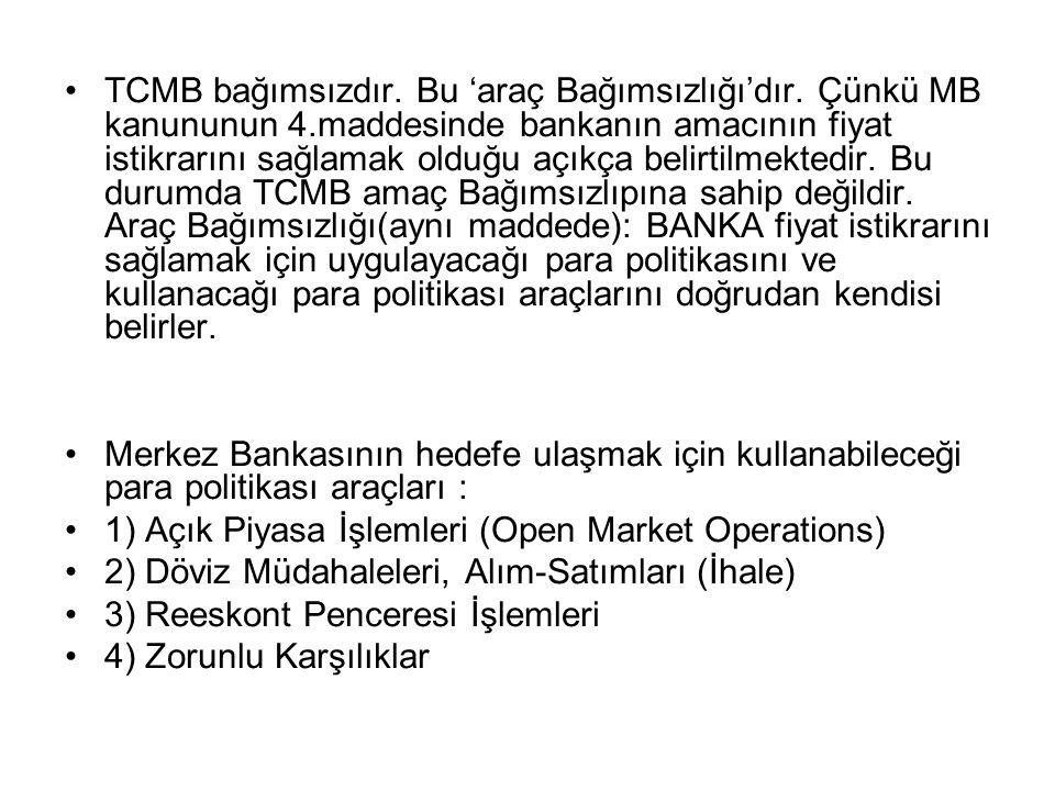 TCMB bağımsızdır. Bu 'araç Bağımsızlığı'dır. Çünkü MB kanununun 4