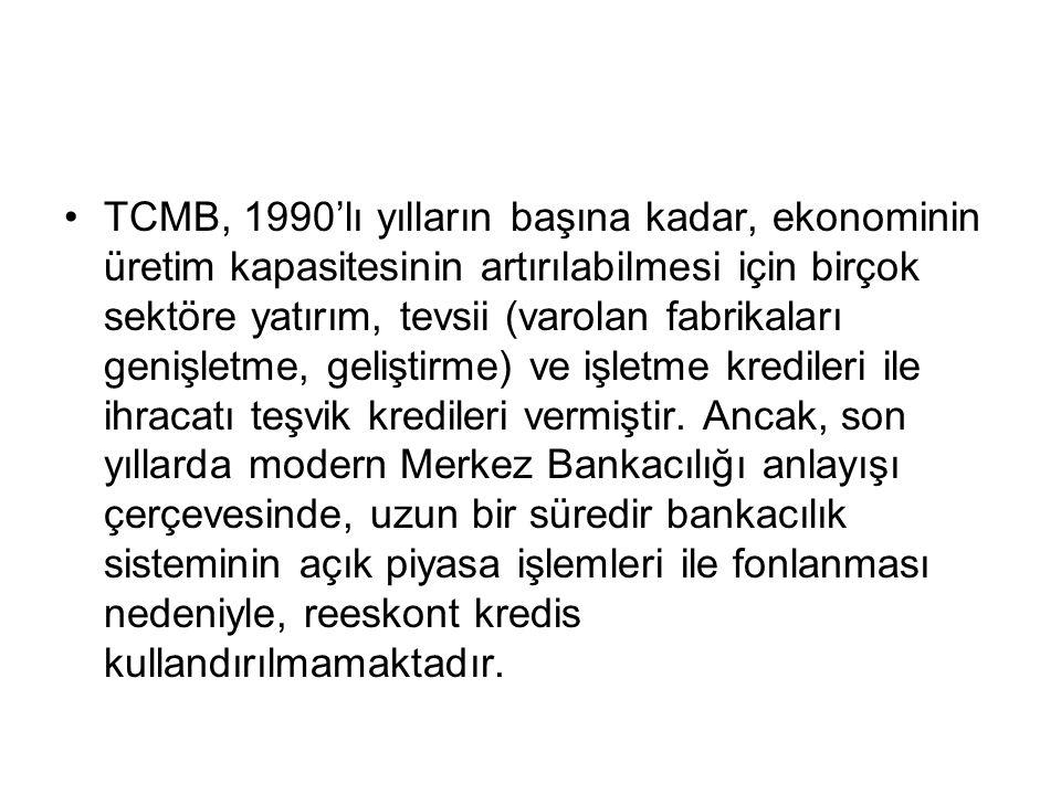 TCMB, 1990'lı yılların başına kadar, ekonominin üretim kapasitesinin artırılabilmesi için birçok sektöre yatırım, tevsii (varolan fabrikaları genişletme, geliştirme) ve işletme kredileri ile ihracatı teşvik kredileri vermiştir.