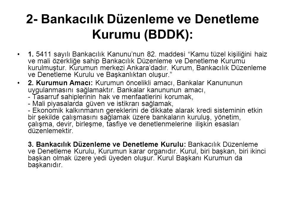 2- Bankacılık Düzenleme ve Denetleme Kurumu (BDDK):