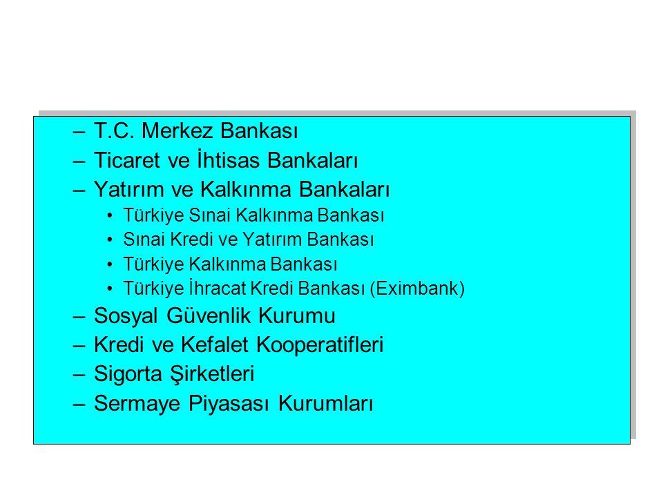 Ticaret ve İhtisas Bankaları Yatırım ve Kalkınma Bankaları