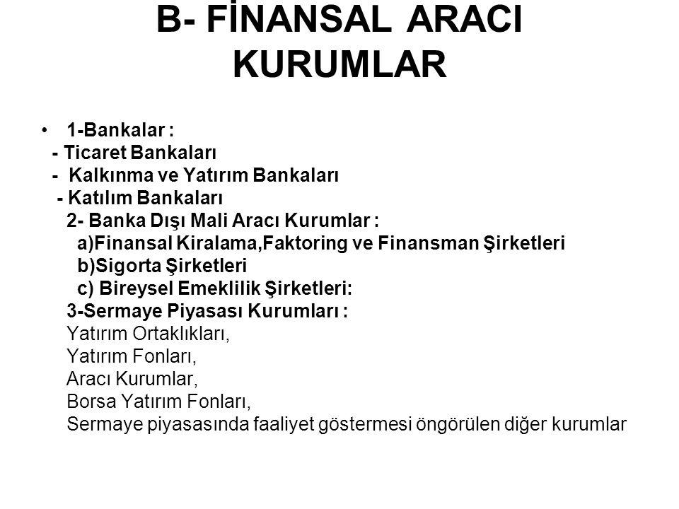 B- FİNANSAL ARACI KURUMLAR