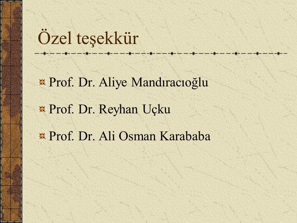 Özel teşekkür Prof. Dr. Aliye Mandıracıoğlu Prof. Dr. Reyhan Uçku