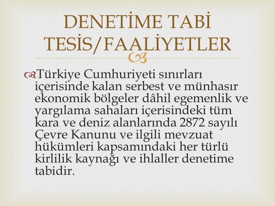 DENETİME TABİ TESİS/FAALİYETLER