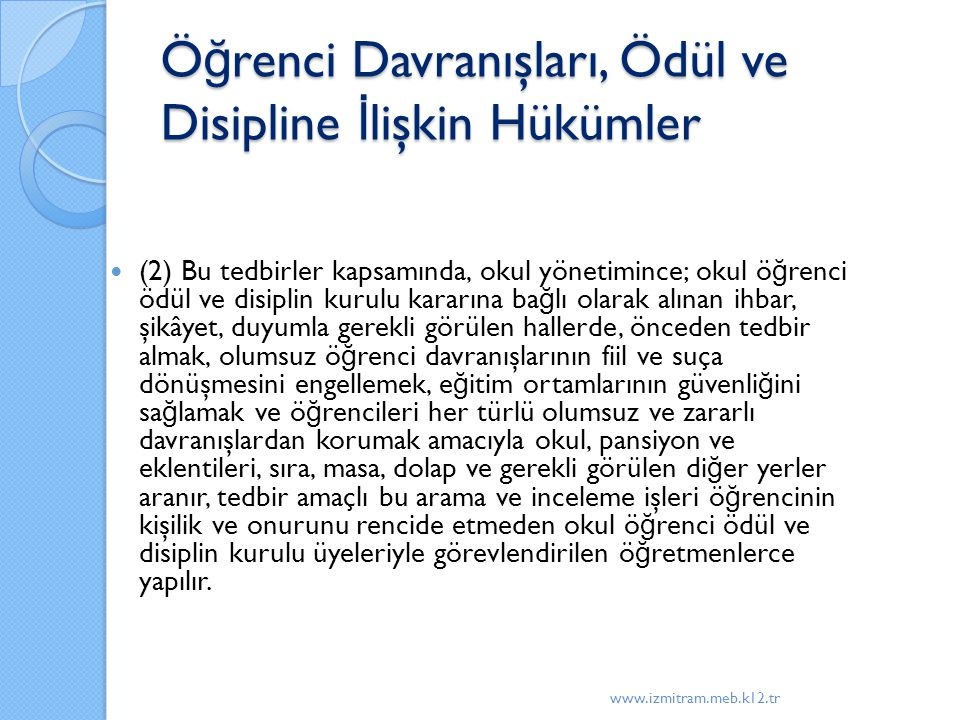 Öğrenci Davranışları, Ödül ve Disipline İlişkin Hükümler