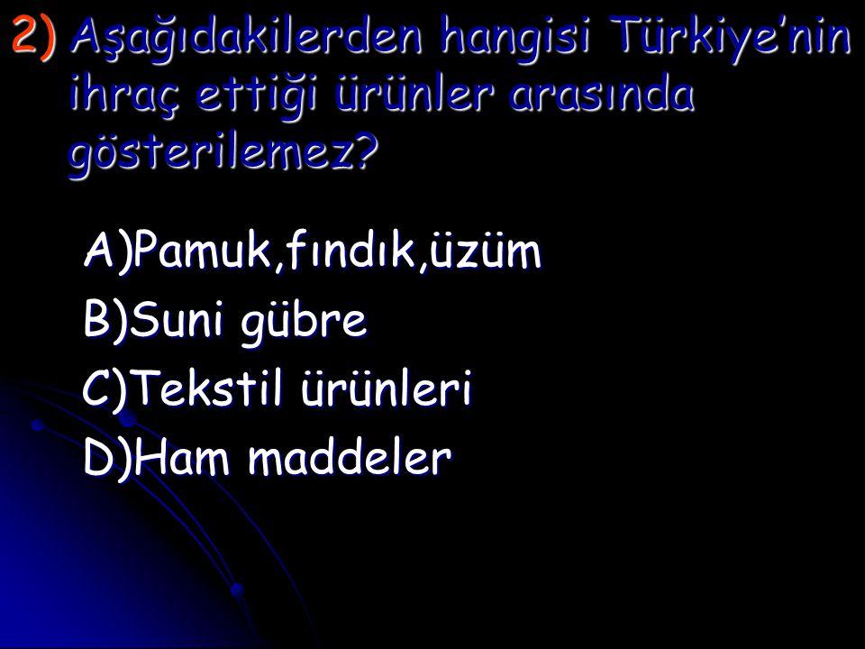 Aşağıdakilerden hangisi Türkiye'nin ihraç ettiği ürünler arasında gösterilemez