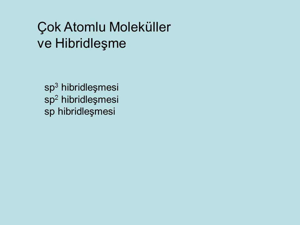 Çok Atomlu Moleküller ve Hibridleşme sp3 hibridleşmesi