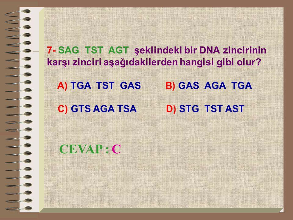 7- SAG TST AGT şeklindeki bir DNA zincirinin karşı zinciri aşağıdakilerden hangisi gibi olur