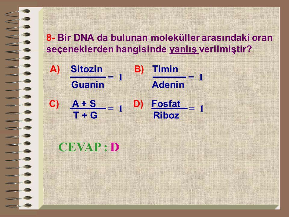 8- Bir DNA da bulunan moleküller arasındaki oran seçeneklerden hangisinde yanlış verilmiştir