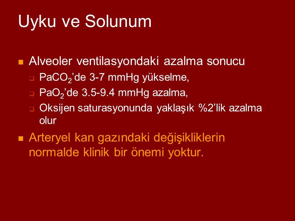 Uyku ve Solunum Alveoler ventilasyondaki azalma sonucu
