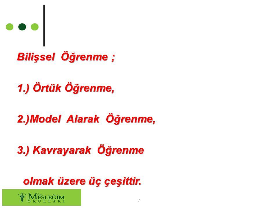 Bilişsel Öğrenme ; 1. ) Örtük Öğrenme, 2. )Model Alarak Öğrenme, 3
