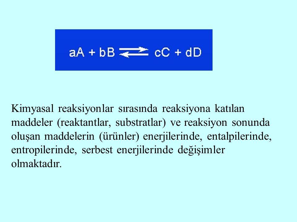 Kimyasal reaksiyonlar sırasında reaksiyona katılan maddeler (reaktantlar, substratlar) ve reaksiyon sonunda oluşan maddelerin (ürünler) enerjilerinde, entalpilerinde, entropilerinde, serbest enerjilerinde değişimler olmaktadır.