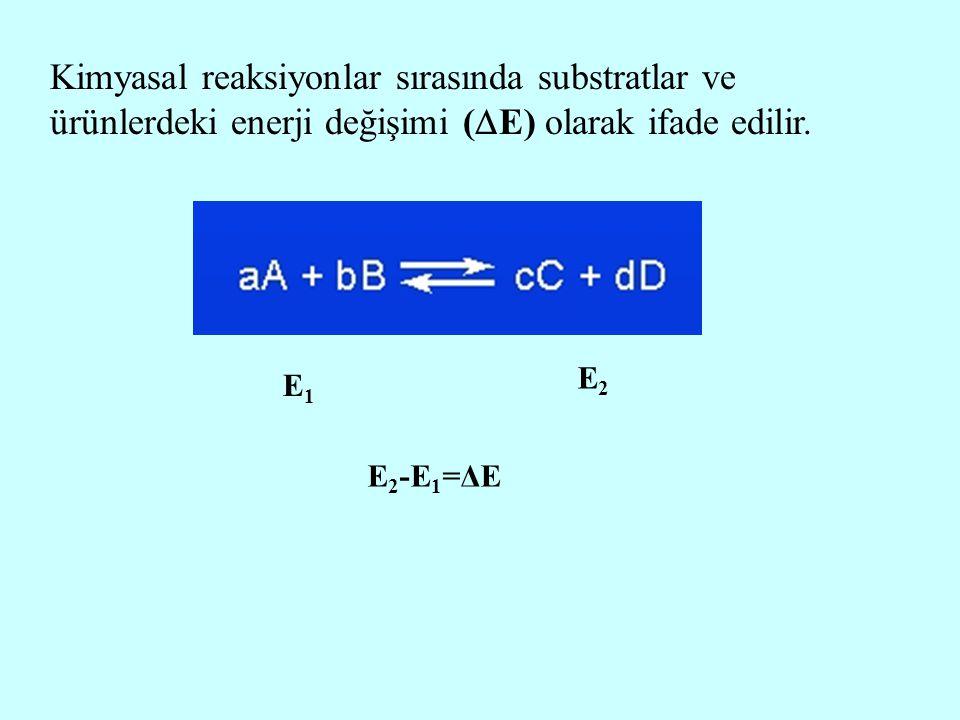 Kimyasal reaksiyonlar sırasında substratlar ve ürünlerdeki enerji değişimi (E) olarak ifade edilir.