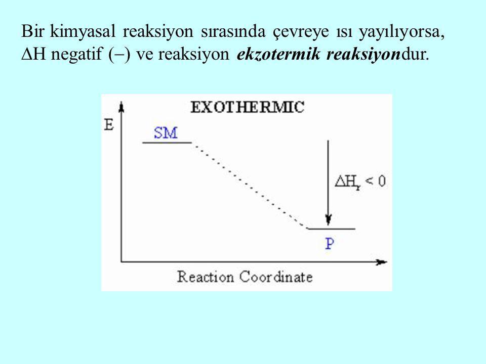Bir kimyasal reaksiyon sırasında çevreye ısı yayılıyorsa, H negatif () ve reaksiyon ekzotermik reaksiyondur.