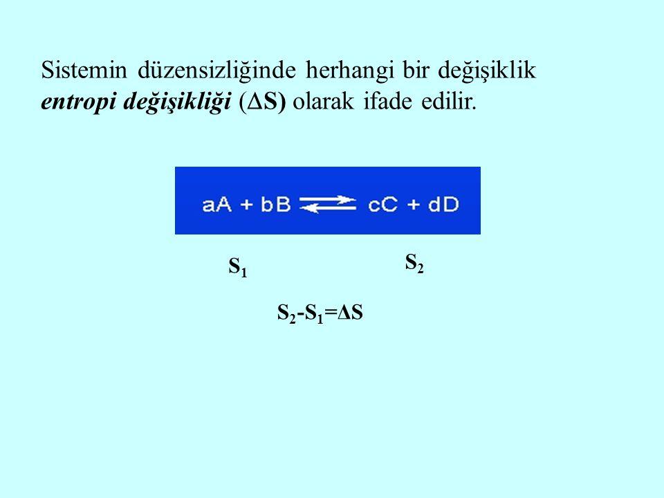 Sistemin düzensizliğinde herhangi bir değişiklik entropi değişikliği (S) olarak ifade edilir.