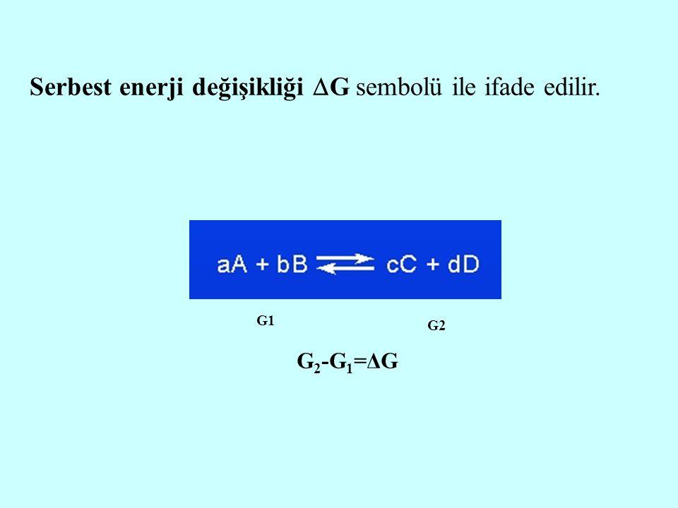 Serbest enerji değişikliği G sembolü ile ifade edilir.