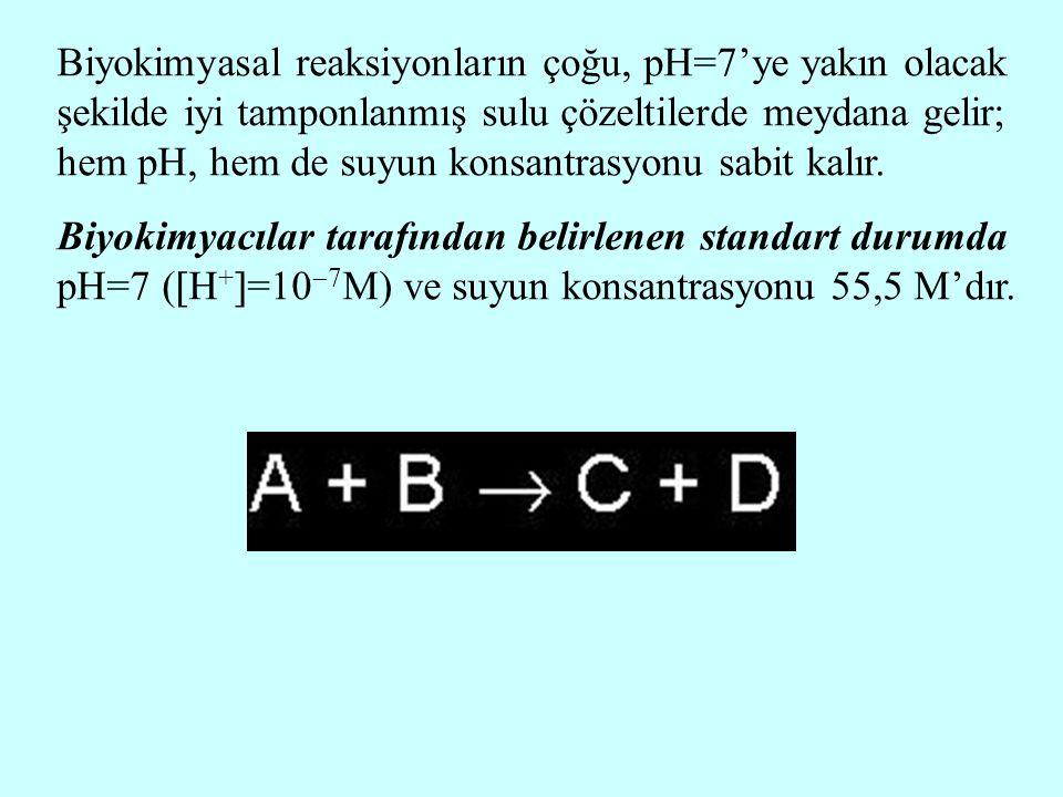 Biyokimyasal reaksiyonların çoğu, pH=7'ye yakın olacak şekilde iyi tamponlanmış sulu çözeltilerde meydana gelir; hem pH, hem de suyun konsantrasyonu sabit kalır.