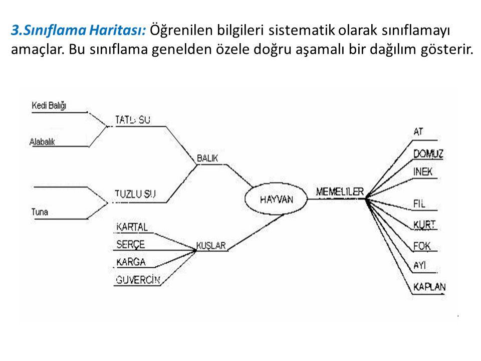3.Sınıflama Haritası: Öğrenilen bilgileri sistematik olarak sınıflamayı amaçlar.