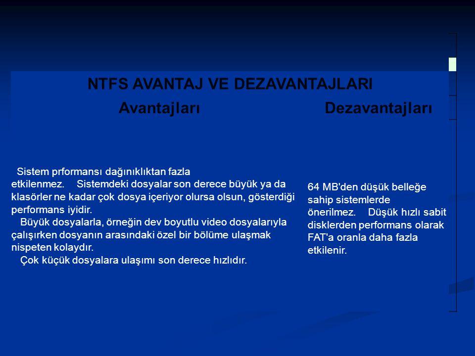 NTFS AVANTAJ VE DEZAVANTAJLARI