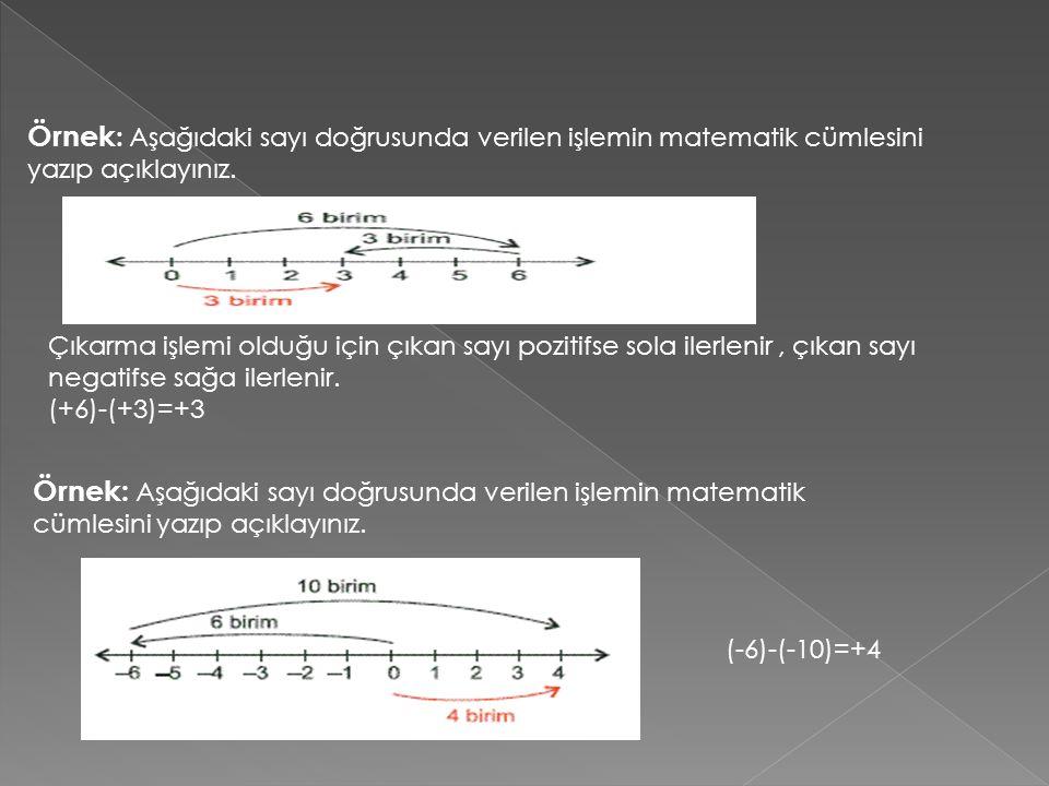 Örnek: Aşağıdaki sayı doğrusunda verilen işlemin matematik cümlesini yazıp açıklayınız.