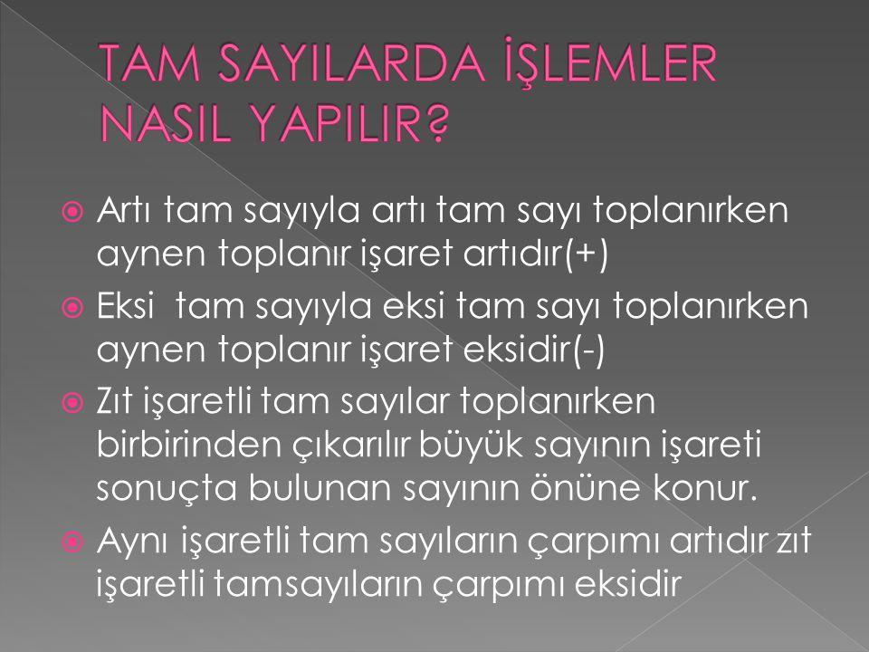 TAM SAYILARDA İŞLEMLER NASIL YAPILIR