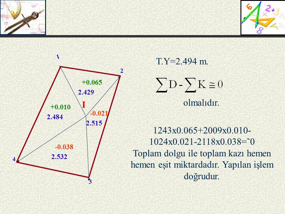 1 T.Y=2.494 m. 2. +0.065. 2.429. olmalıdır. I. +0.010. -0.021. 2.484. 2.515. 1243x0.065+2009x0.010-