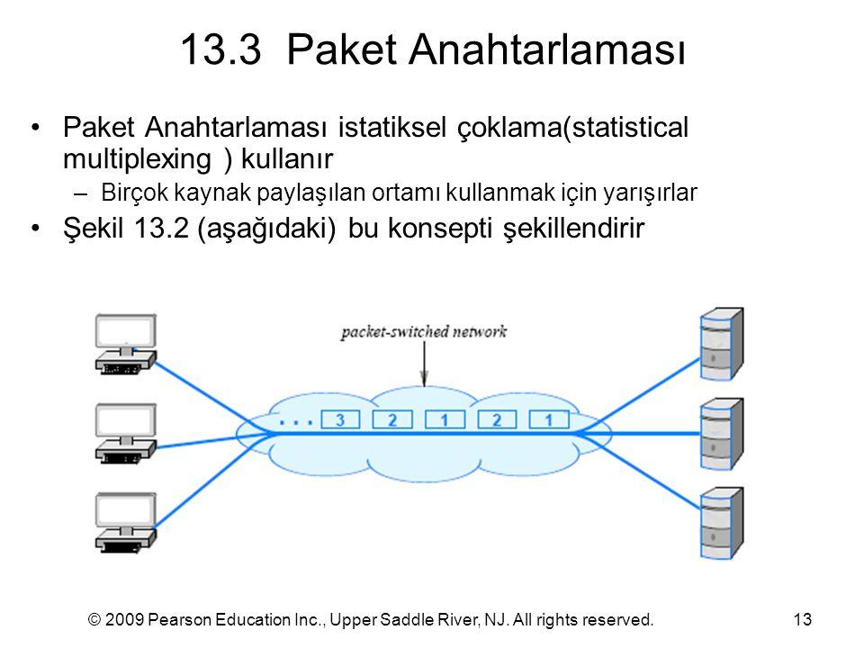 13.3 Paket Anahtarlaması Paket Anahtarlaması istatiksel çoklama(statistical multiplexing ) kullanır.