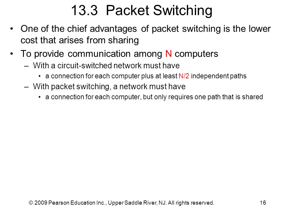 13.3 Packet Switching One of the chief advantages of packet switching is the lower cost that arises from sharing.