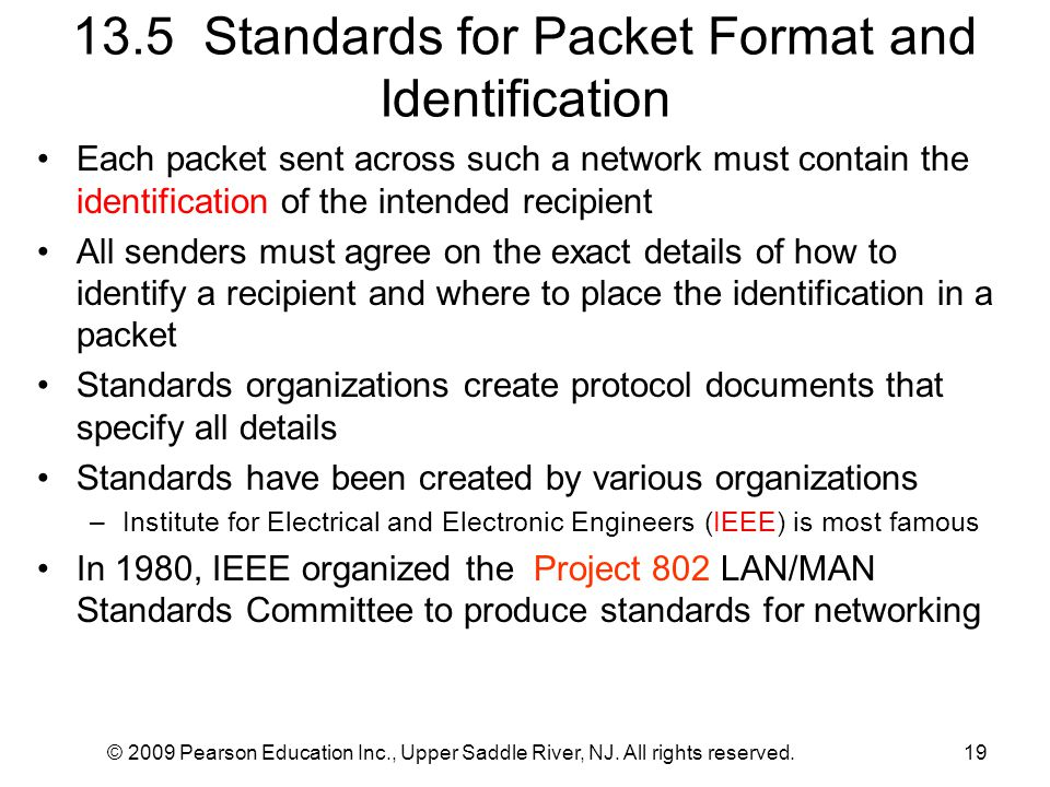 13.5 Standards for Packet Format and Identification