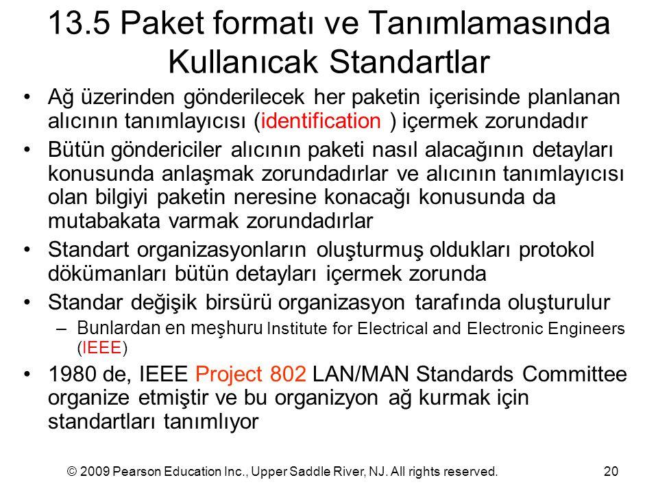 13.5 Paket formatı ve Tanımlamasında Kullanıcak Standartlar