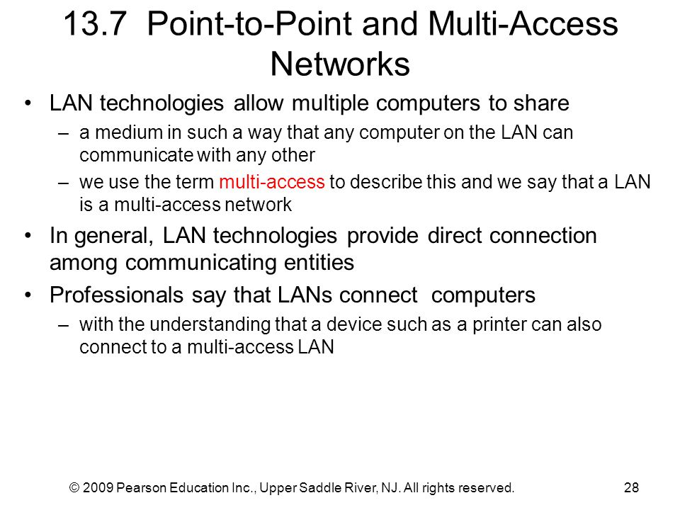 13.7 Point-to-Point and Multi-Access Networks