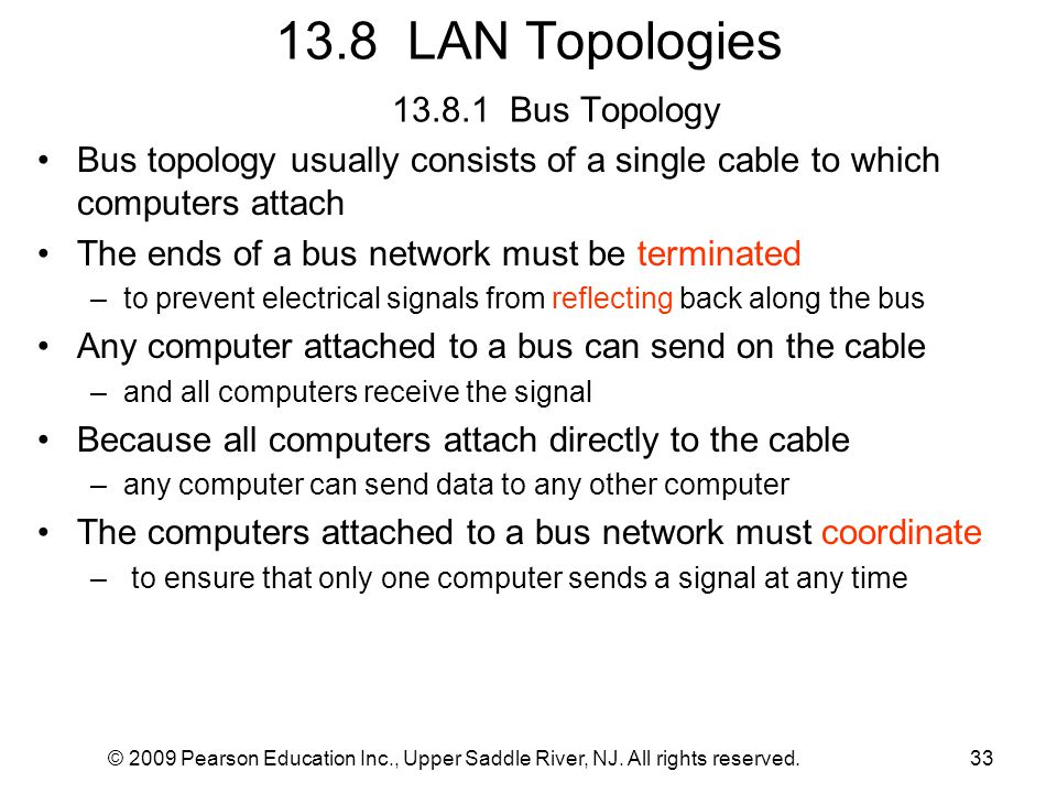 13.8 LAN Topologies 13.8.1 Bus Topology