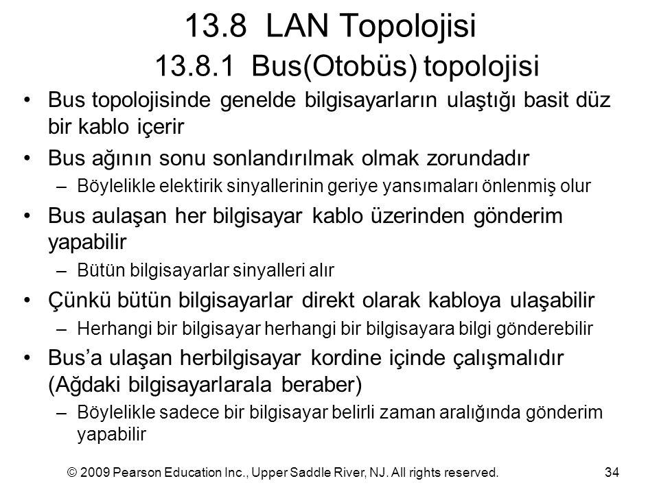 13.8 LAN Topolojisi 13.8.1 Bus(Otobüs) topolojisi