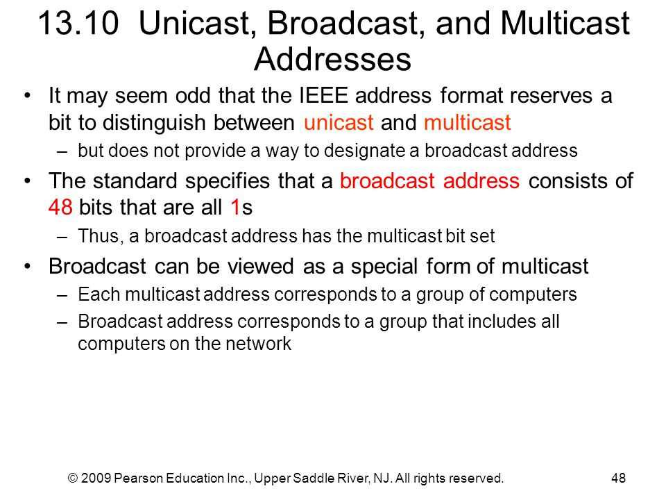 13.10 Unicast, Broadcast, and Multicast Addresses