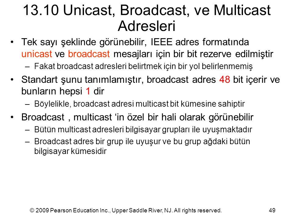 13.10 Unicast, Broadcast, ve Multicast Adresleri