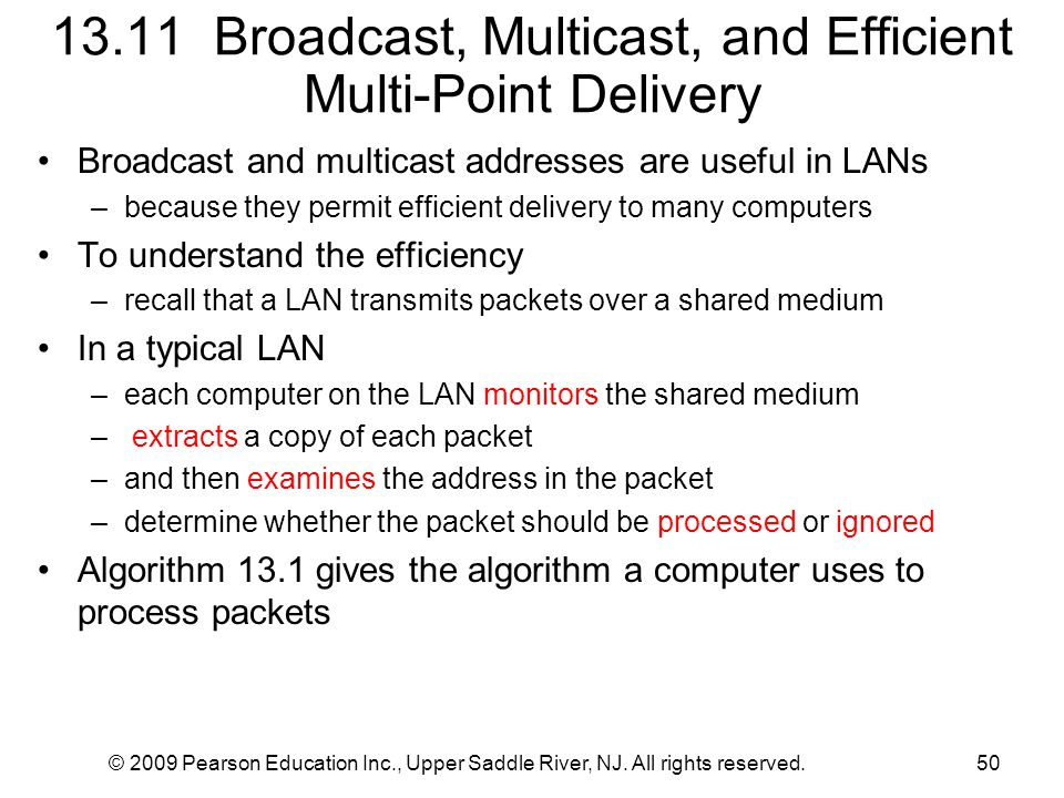 13.11 Broadcast, Multicast, and Efficient Multi-Point Delivery