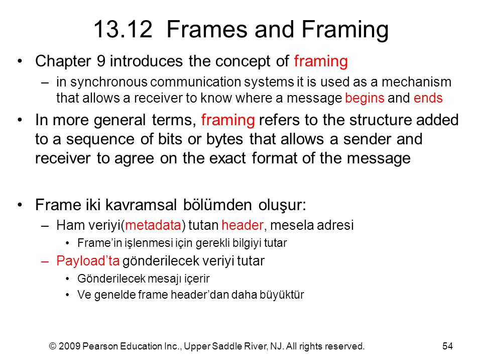 13.12 Frames and Framing Chapter 9 introduces the concept of framing