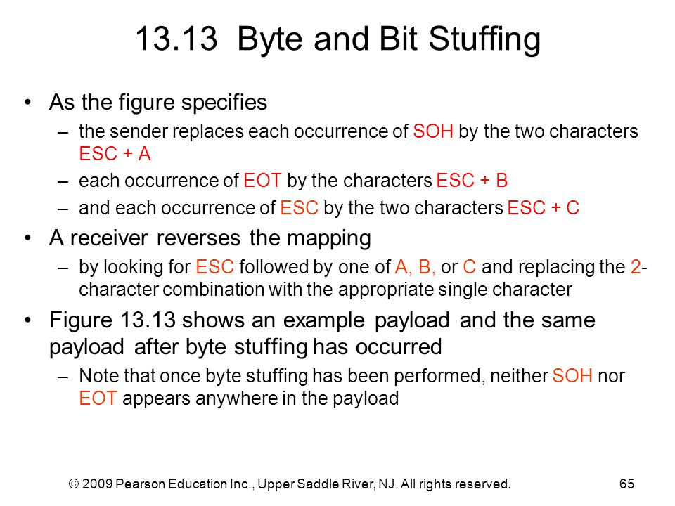 13.13 Byte and Bit Stuffing As the figure specifies