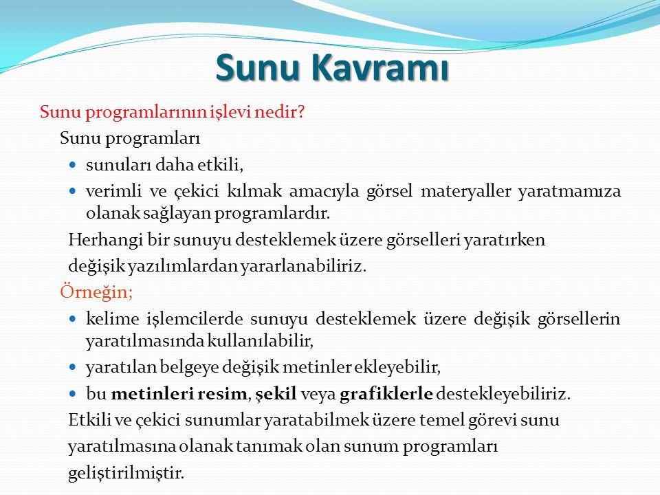 Sunu Kavramı Sunu programlarının işlevi nedir Sunu programları