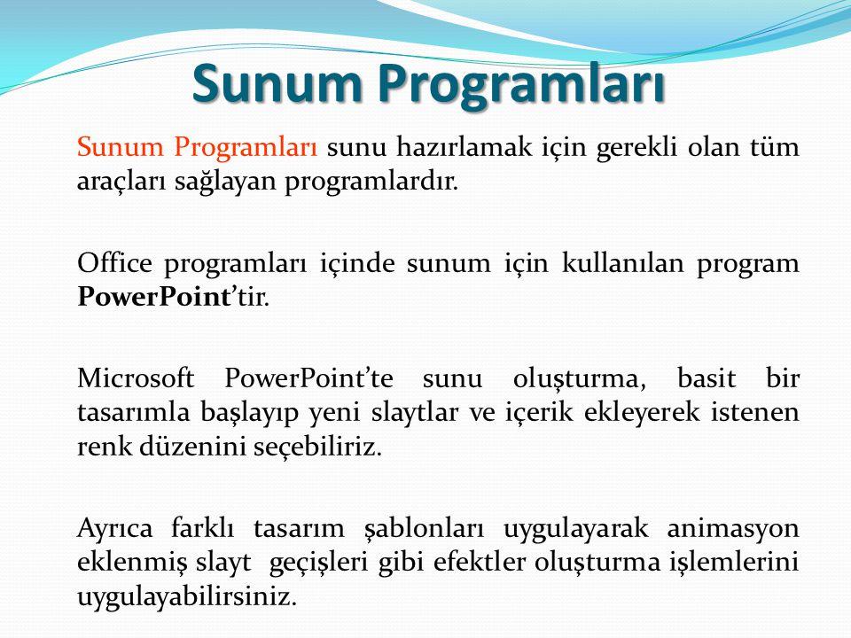 Sunum Programları Sunum Programları sunu hazırlamak için gerekli olan tüm araçları sağlayan programlardır.