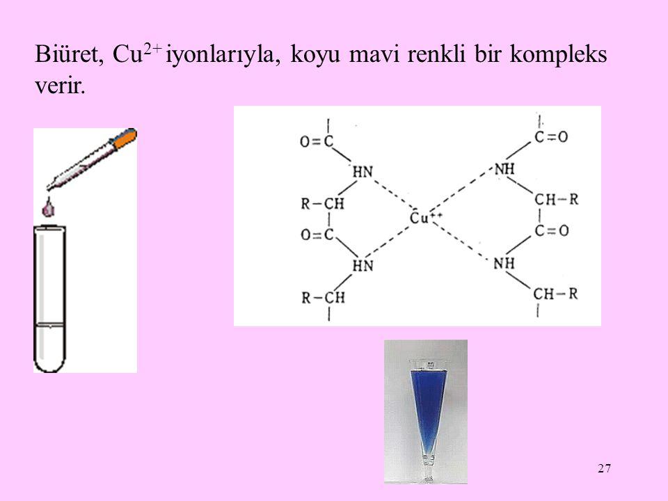 Biüret, Cu2+ iyonlarıyla, koyu mavi renkli bir kompleks verir.