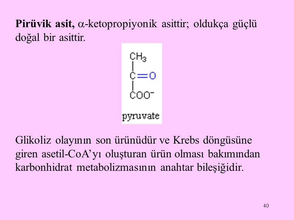 Pirüvik asit, -ketopropiyonik asittir; oldukça güçlü doğal bir asittir.