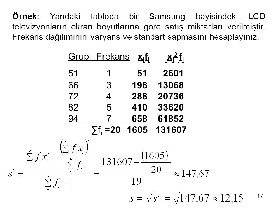 Örnek: Yandaki tabloda bir Samsung bayisindeki LCD televizyonların ekran boyutlarına göre satış miktarları verilmiştir. Frekans dağılımının varyans ve standart sapmasını hesaplayınız.