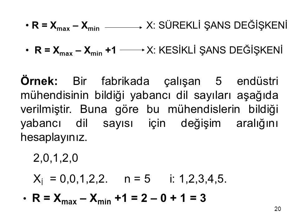 R = Xmax – Xmin X: SÜREKLİ ŞANS DEĞİŞKENİ